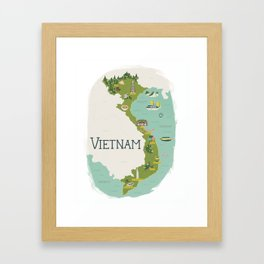 Vietnam Map Framed Art Print