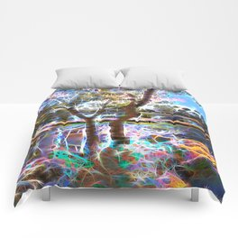 Trees Pond and Light Streams Comforters