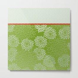 Dahlia Scallops Green and Orange Metal Print