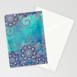 Mermaid's Garden - Navy & Teal Floral on Watercolor Stationery Cards