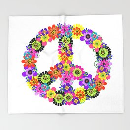 Peace Sign of Flowers Throw Blanket