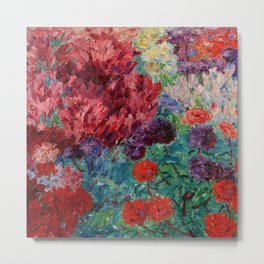 Flower Garden without figure - Blumengarten, ohne Figur by Emil Nolde Metal Print