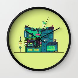 Cyberpunk Tea Shack Wall Clock