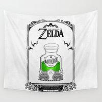 the legend of zelda Wall Tapestries featuring Zelda legend - Green potion  by Art & Be
