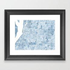 Memphis Tennessee blueprint watercolor map Framed Art Print