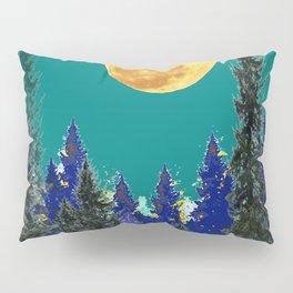 BLUE FOREST TEAL SKY MOON LANDSCAPE ART Pillow Sham