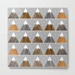Cute winter snowing mountain pattern with minimalist style triangles and wooden texture Metal Print