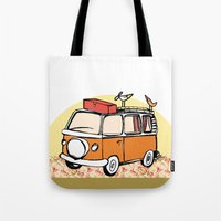 vw bus Tote Bags featuring VW BUS//birdy, hippy Life by Laura Pabst  de Cesar