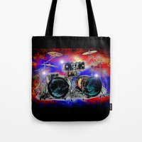 drums Tote Bags featuring Psychedelic Drums by JT Digital Art