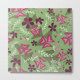Purple Shamrock Floral Layered Pattern / Green Metal Print