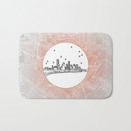Houston, Texas City Skyline Illustration Drawing Bath Mat