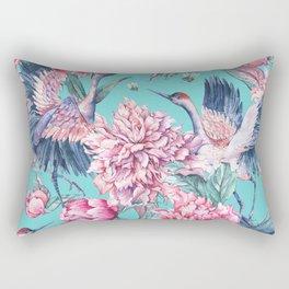 Teal peonies and birds Rectangular Pillow
