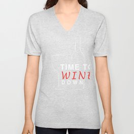 Wine Lover Time to Wine Down Wine Bottle Wine Glass Unisex V-Neck