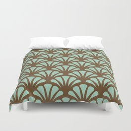 Brown and Mint Green Deco Fan Duvet Cover