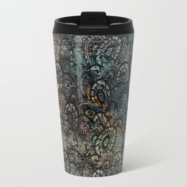 Burned Color  Paisley Pattern on  Wood Travel Mug
