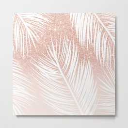 Modern trendy white palm tree leaf pattern on rose gold glitter blush pink Metal Print