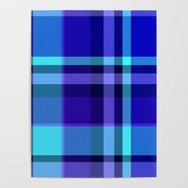Blue Plaid Pattern Poster
