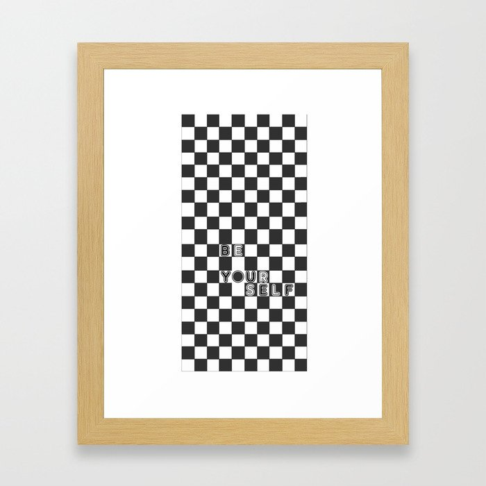 bE yOURsELF in B&W Framed Art Print