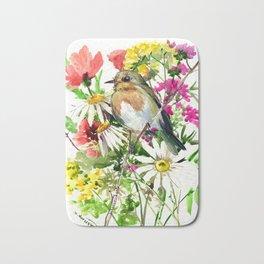 Robin Bird and Summer Colors Bath Mat