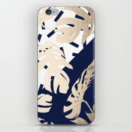 Simply Tropical Nautical Navy Memphis Palm Leaves iPhone Skin