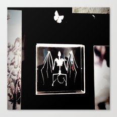 Bat and butterfly skeletons Canvas Print