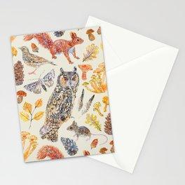 Autumn Wildlife Pattern Neutral Stationery Cards