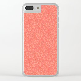 Living coral abstract foliage decorative pattern Clear iPhone Case