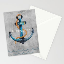 Maritime Design- Nautic Anchor Navy Marine Beach Stationery Cards