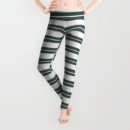 Delicate White PPG1001-1 Horizontal Stripes Pattern 1 on Night Watch PPG1145-7 Leggings