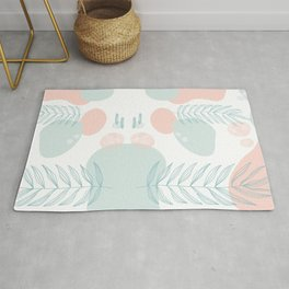 Abstract Shapes & Leaves in Seafoam Rug