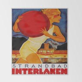 Vintage Interlaken Switzerland Travel Throw Blanket