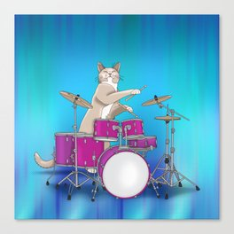 Cat Playing Drums - Blue Canvas Print