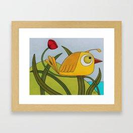Yellow Wren Quail Framed Art Print