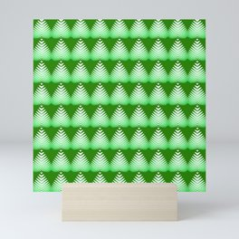 Pattern of white hearts and greens on a lime background. Mini Art Print