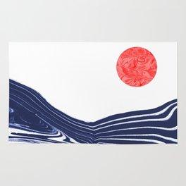 Furoshi - spilled ink marble water wave painting sun sea waves water aqua seaside abstract minimal  Rug