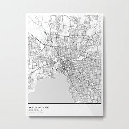 Melbourne Simple Map Metal Print