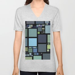 Analogous Color Block/Tile Art (muted shades of green, blue, slate blue, and grays) Unisex V-Neck