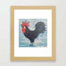 A Black Rooster Framed Art Print