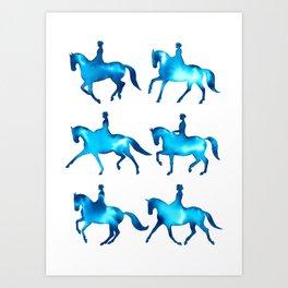 Turquoise Dressage Horse Silhouettes Art Print