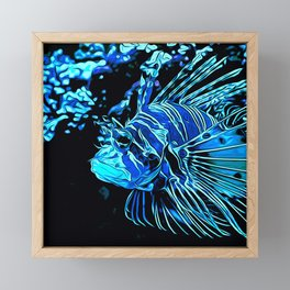 lionfish vector art blue Framed Mini Art Print