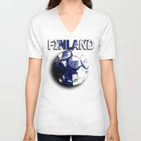 finland V-neck T-shirts featuring Old football (Finland) by seb mcnulty
