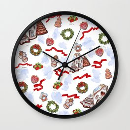 hand drawn pattern of winter decoration Wall Clock