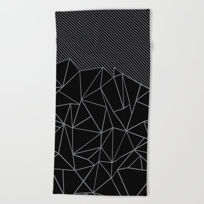 Ab Lines 45 Grey and Black Beach Towel
