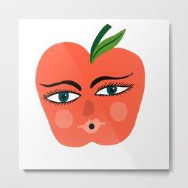 Happy Apple Whimsical Art Metal Print
