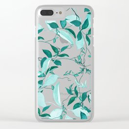 fresh green leaf pattern Clear iPhone Case
