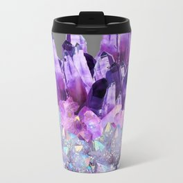 SPARKLY WHITE QUARTZ & PURPLE AMETHYST CRYSTAL Travel Mug