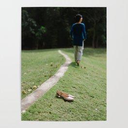 Woman walk barefeet on grass Poster