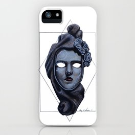 Female Venetian Mask | Watercolor and Colored Pencil  iPhone Case