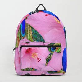TROPICAL PINK HIBISCUS FLOWERS & BLUE-GREEN PEACOCK Backpack