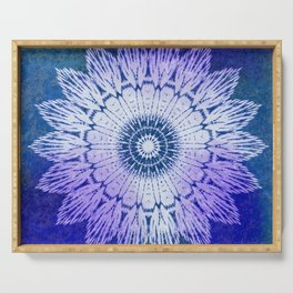 tie dye sunflower mandala in blues Serving Tray